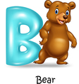Cartoon of B letter for Bear vector image