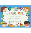 Certificate with children on the border vector image vector image