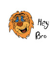 cheerful lion cool inscription hey bro childrens vector image