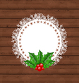 christmas greeting card with holly berry vector image vector image