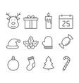 christmas line icon set vector image