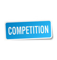 competition square sticker on white vector image vector image