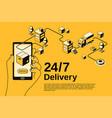 delivery service 24 7 halftone vector image vector image