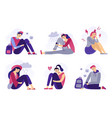 depressed teenagers sadness student unhappy vector image vector image