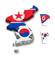 flag of north korea and south korea friendship vector image vector image
