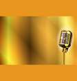 gold stage microphone background vector image vector image