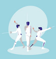 group of people practicing fencing avatar vector image