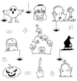 Halloween element castle pumpkins doodle vector image vector image