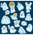 Halloween set of stickers ghosts vector image