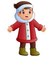 happy boy in red winter clothes vector image vector image