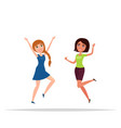 happy group of girls jumping white background vector image vector image