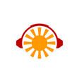headphone sun logo icon design vector image vector image