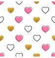 heart shape pattern golden and handdrawn hearts vector image vector image