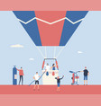hot air balloon trip - flat design style vector image