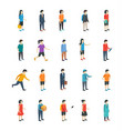isometric people flat icons vector image vector image
