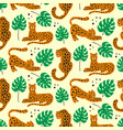 jungle seamless pattern with leopards for kids vector image