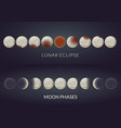 lunar eclipse phases and moon phases vector image vector image