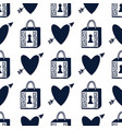 padlock and hearts seamless pattern black and vector image vector image