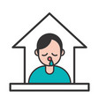 person with flu covid19 symptom stay at home vector image vector image