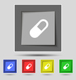 pill icon sign on original five colored buttons vector image vector image
