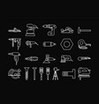 power tools for repair set icons outline on black vector image vector image