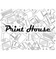 print house coloring book line art design vector image