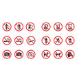 prohibition sign set - no smoke no dogs allowed vector image vector image