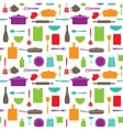 seamless pattern kitchen silhouettes vector image