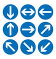 set direction signs blue circle mandatory vector image vector image