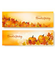 set happy thanksgiving banners with autumn vector image vector image