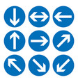 set of direction signs blue circle mandatory vector image vector image