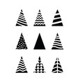 simple set black christmas trees triangular shape vector image