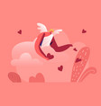 smiling cupid man with wings wearing white toga vector image