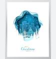 snowy boston city paper art greeting card vector image vector image