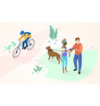 spending time in city park flat concept vector image