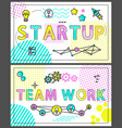 start up and team work banners with linear icons vector image