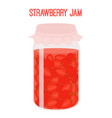 strawberry jam in mason jar canned vector image vector image