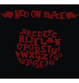 Stylish dark alphabet in dark red on black vector image vector image