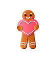 tasty gingerbread man with red heart creamy milk vector image vector image