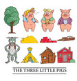 three little pigs on white background vector image vector image