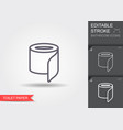 toilet paper line icon with editable stroke with vector image vector image