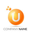 u letter splash orange dots and circle bubble vector image vector image