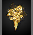 waffle horn with gold roses vector image
