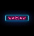 warsaw neon sign bright light signboard banner vector image vector image