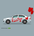 white car with red balloons isolated on a grey vector image vector image