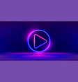 wide gaming background with glowing play button vector image vector image