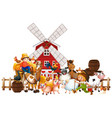 windmill with animal farm set isolated vector image vector image