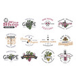 wine logos labels set winery wine shop vector image vector image