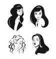 Woman faces set vector image