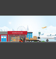 workers loading truck with packaged goods at vector image vector image